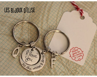 Set of 2 Keychains I Love You To the Moon & Back Keychains Personalized Keychain Long Distance Relationship