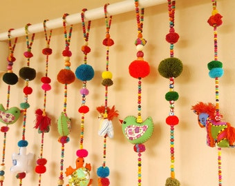 Get 9Lines of 100% Handmade Cute Doll Beads Curtain For Home Decoration for window