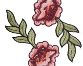 Embroidered Red Pink Roses Flowers Patches Appliques