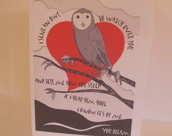 I sent an owl... greetings card