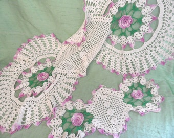 Crocheted doily set / large vintage purple dresser scarf