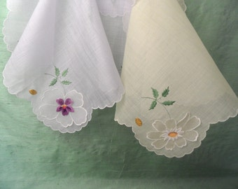 Two complementary sheer , 3D floral embroidered hankies /  yellow / lavender / vintage unused handkerchief pair