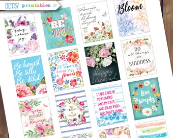 Floral Printable planner stickers, Printable Stickers, inspirational, vertical-  437 For use with ERIN CONDREN LIFEPLANNER™