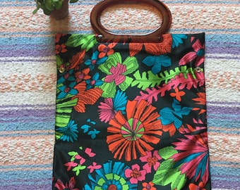 1970's Bright Floral Lady's Pride Top Handle Handbag
