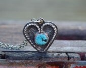 Sterling Heart Necklace . Navajo Stamp . Old Turquoise . Rustic . Earthy . Boho .