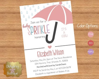 Umbrella Baby Sprinkle Invitation (GIRL)