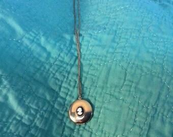 "VINTAGE Brass CAMEO LOCKET w/ 16"" Brass Chain Free Shipping"