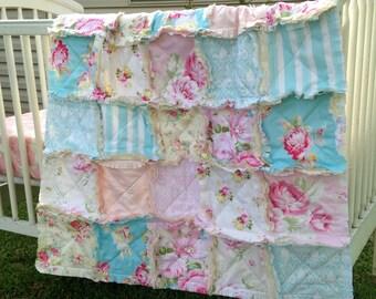 Crib Rag Quilt, Sunshine Roses Pink Blue Yellow Roses Crib Bedding Shabby Chic Baby Quilt Baby Bedding Baby Girl