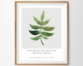 """Watercolor Botanical Leaf Painting Bible Verse Print - """"The Word of Our God Endures Forever"""" (Isaiah 40:8)"""