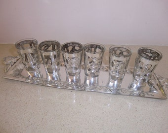 sterling silver 6 liquer vodka cups on a tray, handmade, mexico signed