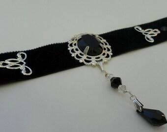BLACK VELVET choker with black glass cabochon and SWAROVSKI crystal