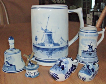 Vintage DELFTS 6 Piece Blue Items