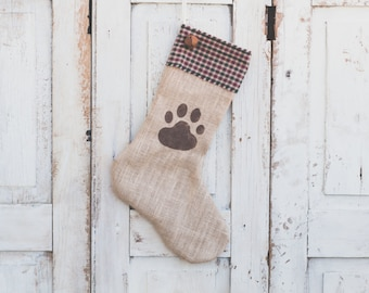 Dog Christmas Stocking in Natural Burlap with Red and Green Checkered Cuff and Bell - Paw Print - Personalized Christmas Stocking Name Tag