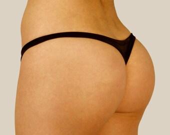 THONG BIKINI BOTTOMS   Low Rise Hot Brazilian Swimwear   Exotic Dance Wear Panty   Black