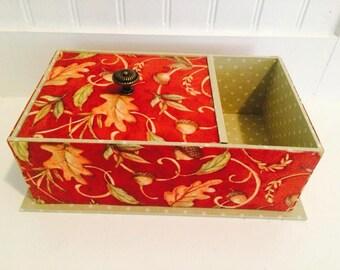 Tea Box, Tea Box Organizer, Fabric Tea Box, Gift Box, Keepsakes Box, Tea Storage Box, Cartonnage Box, Decorative Box, Personzalized tea box