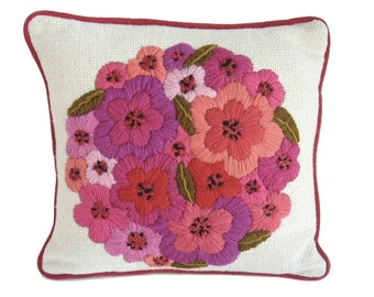 Vintage Pillow Vintage Embroidery Crewel Pillow Crewel Embroidery Floral Pillow Purple Pillow 1970s Decor Purple Decor Red Pillow