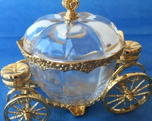 """Franklin Mint 1989 Exquisite Crystal Gold Metal Cinderella Coach Carriage Collectible Retired Mint 6"""""""