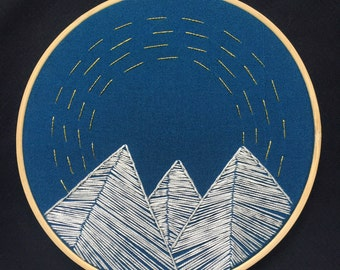 Mountains and Sky (Night) Embroidery Hoop Art