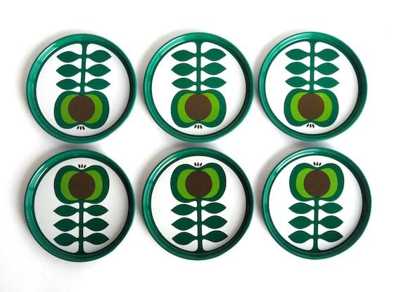 Kr Mer Zolnir Drinks Coasters Tin Metal Midcentury Modern Set