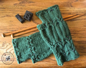 PATTERN Eartha Beaded Cabled Fingerless Mitts