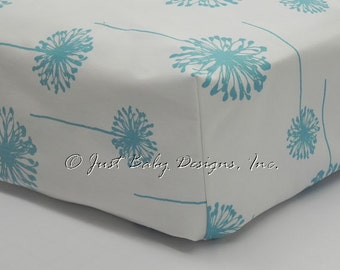 Fitted Crib Sheet - Light Turquiose Blue Dandelions
