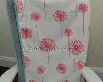 Baby Blanket - Coral Dandelions and Gray Minky Dot