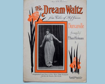 The Dream Waltz - from Tales of Hoffman - Original Large Format 1914 Antique Sheet Music