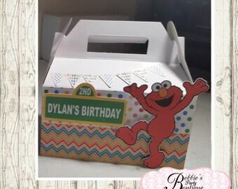 Elmo party favor box, Elmo gable box, 10 Elmo party favor gable box, Elmo favor box