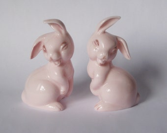 Vintage PINK Milk Glass Bunny Rabbit Salt and Pepper Shakers Easter Figurine Figure HTF Easter Bunny Cottage Chic Happy Japan Sticker