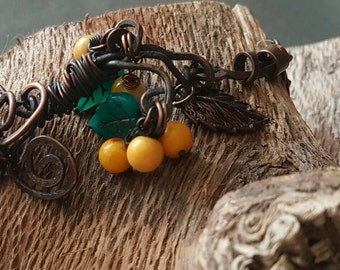 Copper Bracelet with Jade / New Season / Handmade / Organic / Rustic / Oxidized / Copper Jewelry