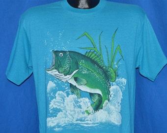 80s Big Mouth Bass Jumping Fishing t-shirt Medium