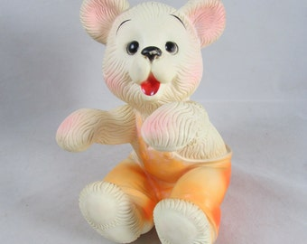 Bonnytex Bear Squeak Toy VTG Vinyl USA Made