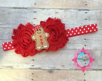 Gingerbread Headband-Gingerbread-Christmas Headband-Christmas Bow-1ST Christmas Headband Bow-Santa Headband-Christmas Photos