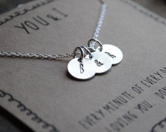 y o u  &  i   .  personalized initial ampersand necklace