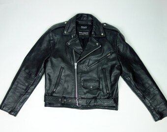 Mens 80s black leather cropped motorcycle jacket, Wilsons rocker moto biker jacket, Medium to large