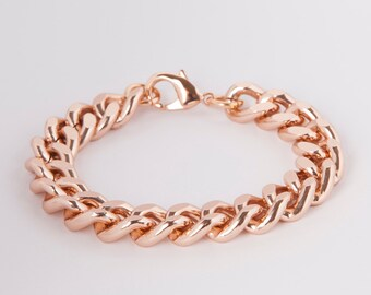 Bracelet Rosegold  Curb Chain Rose Gold Plated Chunky Curb Bracelet Rosegold