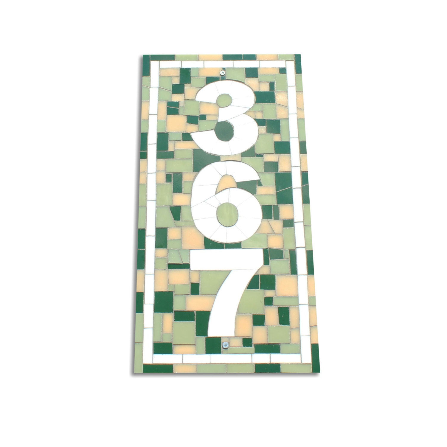 Outdoor Custom Vertical Mosaic House Number Sign By