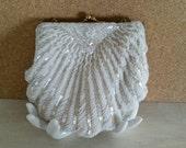 White Vintage Beaded Bag. La Regale Ltd. Mermaid Shell Clutch.