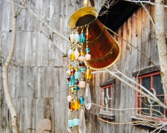 Handmade Repurposed Copper and Brass Pitcher Glass Beads and Pink Acrylic Prisms Sun Catcher Mobile