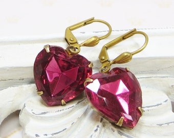 Rose Heart Earrings Pink Heart Ear Dangles Glass Jewel Earrings Victorian Downton Abbey