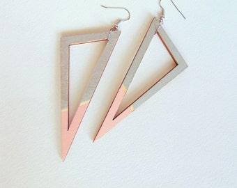 Wood Triangles Earrings, Geometric Earrings Silver and Pastel pink, Geometric Jewelry