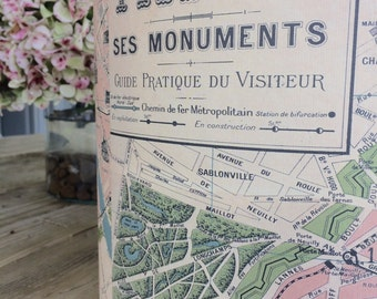 Vintage Paris Map Lampshade