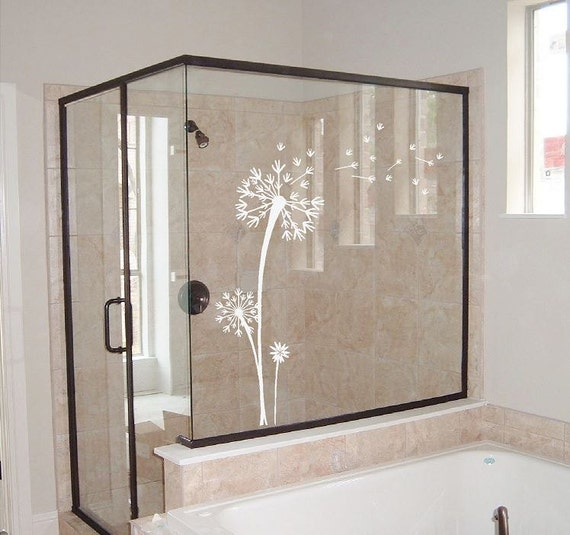 dandelion decal etched glass decal window mirror glass