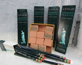 Vintage Lot of Dixon Claro Cleaner Erasers. Soft Rubber Cleaning Blocks. 4 Dozen Venus Drawing Pencils. 2H Hard a Pencils in Box.