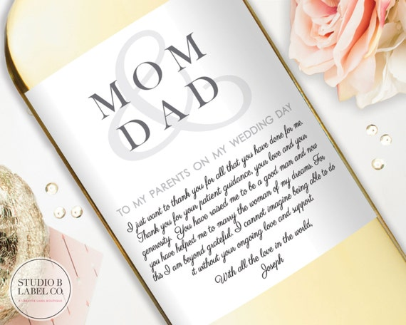 Thank You Gifts For Mom And Dad : ... Thank You GiftWine Label StickersGifts for Mom and Dad on