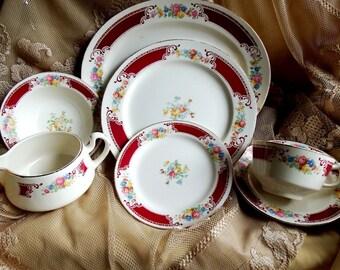 Vintage 1950s, Homer Laughlin, Lady Alice Dinnerware, Britanny Shape, Red Border, Floral,  L 50 N6