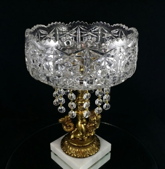Centerpiece display bowl stand glass crystal platter