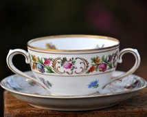 Dresden Cream Soup Cup and Saucer, Schumann, China, porcelain, Germany, Antique, #609