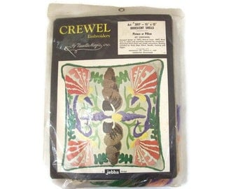 Vintage Crewell Embroidery Iridescent Shells by Needle Magic 1972