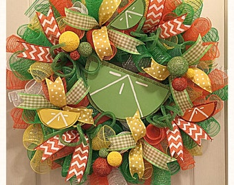 Citrus Sherbet Deco Mesh Wreath/Lime and Orange Wreath/Summer Wreath/Everyday Wreath/Lemon and Lime Wreath